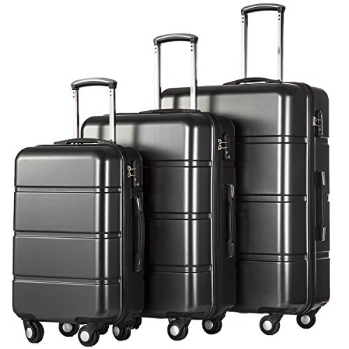 Coolife Luggage 3 Piece Sets PC+ABS Spinner Suitcase 20 inch 24 inch 28 inch...