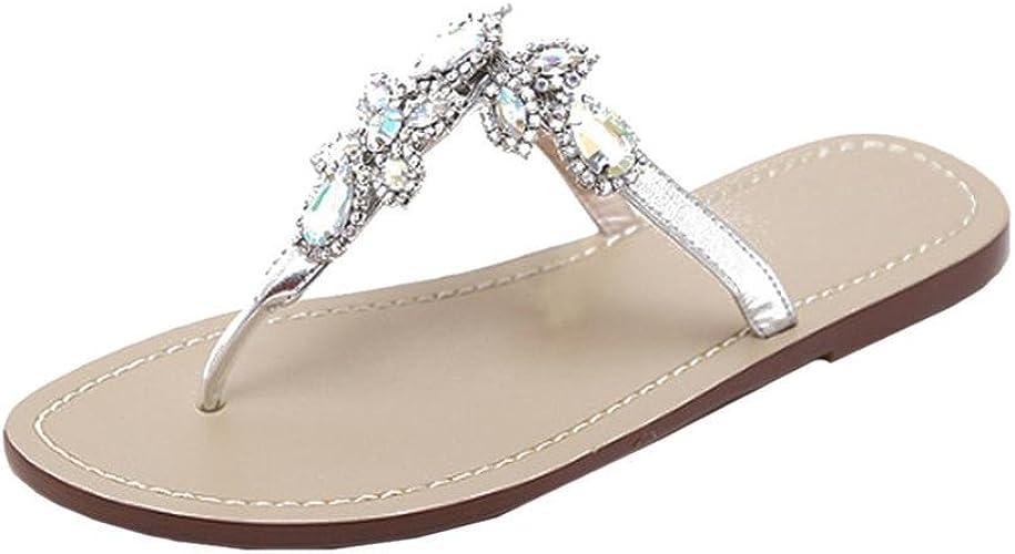 Ansenesna Sandalen Damen Glitzer Flach Offen Flip Flop Sommerschuhe Vintage Stoff Atmungsaktiv Outdoor Strand Trekking Schuhe Schwarz Khaki
