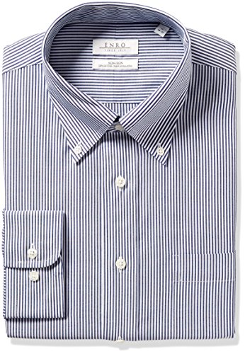 Enro Men's Classic Fit Big-Tall Bengal Stripe Dress Shirt, British Navy, 18
