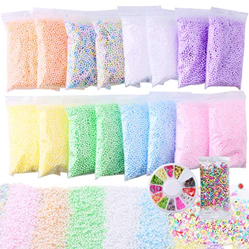 Slime Foam Beads Floam Balls - 18 Pack Pastel Microfoam Beads Kit 0.1-0.14 inch (90,000 Pcs) Micro Colors Rainbow Fruit Beads Craft Add ins DIY Kids Ingredients Flote Microbeads Sprinkles Supplies