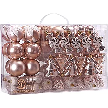 Sea Team 73-Pack Assorted Shatterproof Christmas Balls Christmas Ornaments Set Decorative Baubles Pendants with Reusable Hand-held Gift Package for Xmas Tree (Rose Gold)