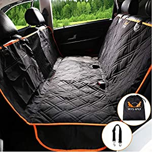 Dog Car Seat Covers – Backseat Covers for Pets – Heavy-Duty Durable Pet Hammock – Practical, Machine Washable – Mesh Window – Universally Compatible – Waterproof Design – 2 Velcro Pockets 35