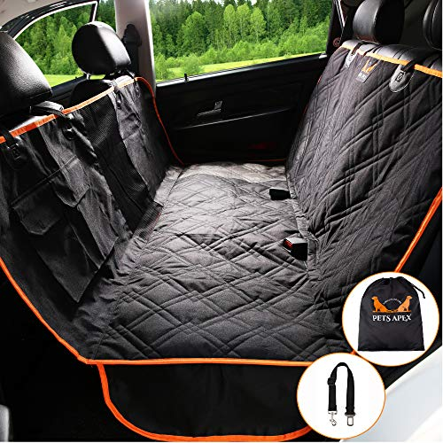 Dog Car Seat Covers - Backseat Covers for Pets - Heavy-Duty Durable Pet Hammock - Practical, Machine Washable - Mesh Window - Universally Compatible - Waterproof Design - 2 Velcro Pockets