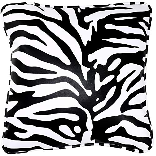 Cortesi Home Zebroid Zebra Print Decorative Soft Velvet Square Accent Throw Pillow with Insert 16