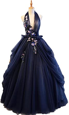 4a9ab78d63445 Okaybrial Women s Quinceanera Dresses Puffy Halter Sleeveless Tulle 3D Lace  Appliques Prom Gowns Long Navy Blue