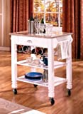 Bernards White Caster with Marble Top Kitchen Island