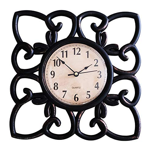 SUN-E 10 Inch Silent Non Ticking Modern Retro Wall Clock Decor Wall Clocks Decorative for Home,Office,Square Classic Perfect Wall Decoration (Black)