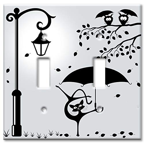 Art Plates 2-Gang Toggle OVERSIZE Switch Plate/OVER SIZE Wall Plate - Cat with an Umbrella ()