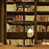 Storage mug hooks,Rotating coffee cup holder drain cup holder mug holder wrought iron vintage racks ornaments-A