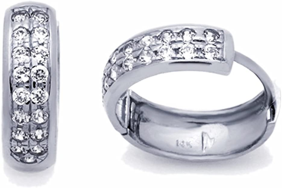 14K Pure Solid YellowWhite Gold Round Huggie 3 row Fancy Earrings Set With Cubic Zirconia 6x14mm RH26 Gift With Round Cut CZ Triple Row