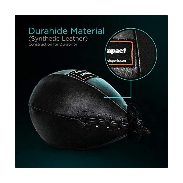 Pro Impact Durahide Speedbag Black - Durable Hanging Swivel Punch Ball for Boxing MMA Muay Thai Fitness or Fighting Sport Training 5