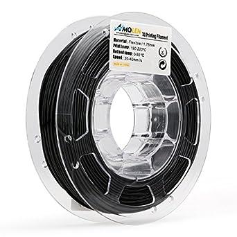AMOLEN Negro TPU Flexible Filamento Impresora 3D, 1.75mm 225G,+/- ...