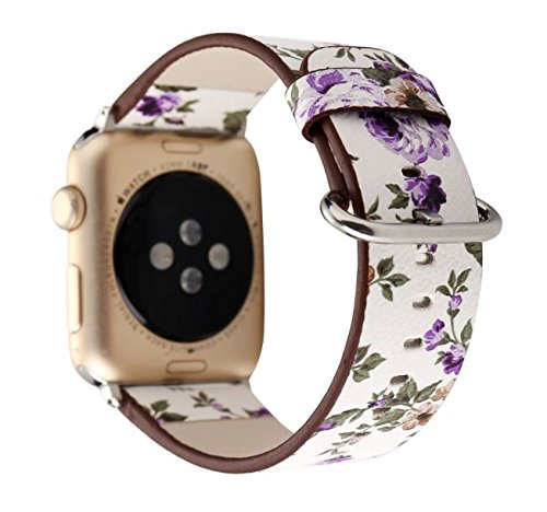Pantheon Designer Leather Apple Watch Band for Women, 38mm and 42mm sizes, Over 30 Luxury iWatch Strap Options for Series 3, 2, 1, or Nike+ Edition, (Flower - Purple Roses, 38mm)