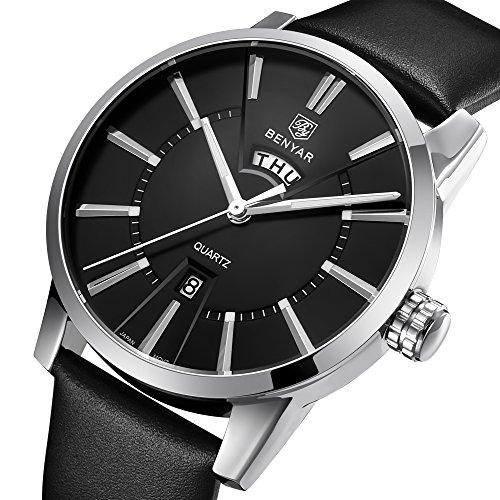 BENYAR Waterproof 30M Genuine Leather Strap Luxury Quartz Watch Classic Auto Date week Fashion Casual Men's Watches BY-5101 (Silver Black) (Strap Quartz Mens Leather)
