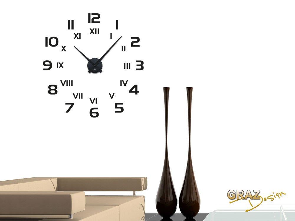 Graz Design 800260_BK_070 Wandtattoo Uhr Mit Uhrwerk Wanduhr Modern Mit  Römischen Zahlen Und Ziffern: Amazon.de: Küche U0026 Haushalt