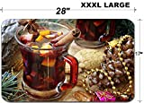 Liili Large Table Mat Non-Slip Natural Rubber Desk Pads cup of hot mulled wine for Christmas and New Year IMAGE ID 34504406