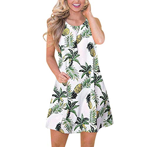 VEZAD Women's Summer Casual Boho Fruit Printed Swing Tank Dress with Side Pockets