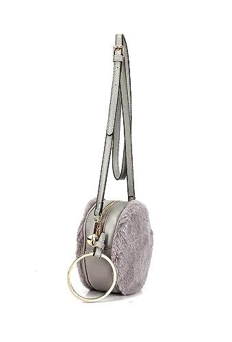 0eb5fb8f0d Angkorly - Handbags   Shoulder Bags Pouch Clutches Cross-body Mini crossbody  bag faux fur modern Pom Pom Disco round for wedding and parties women trendy  ...