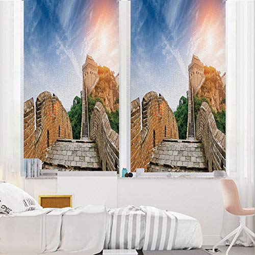 Great Wall of China 3D No Glue Static Decorative Privacy Window Films, Legendary Dynasty Monument on Cliffs Historical Countryside Art Design,17.7