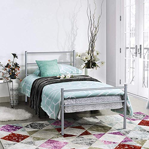 GreenForest Twin Bed Frame Metal Platform with Stable Metal Slats Two Headboards 6 Legs Mattress Foundation Box Spring Replacement, Silver