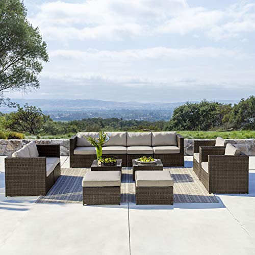 Supernova Outdoor Furniture 12 Pieces Garden Patio Sofa Set | Wicker Rattan Sectional Sofa | Fully Assembled | Aluminum Frame | Brown (Garden Fully Furniture Assembled)