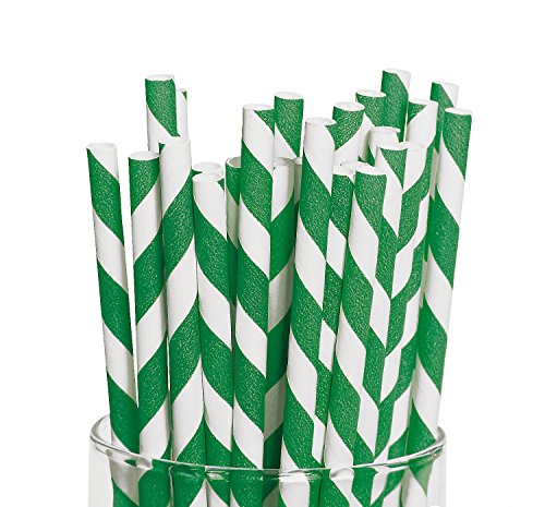 Green Striped Paper Straws Pack