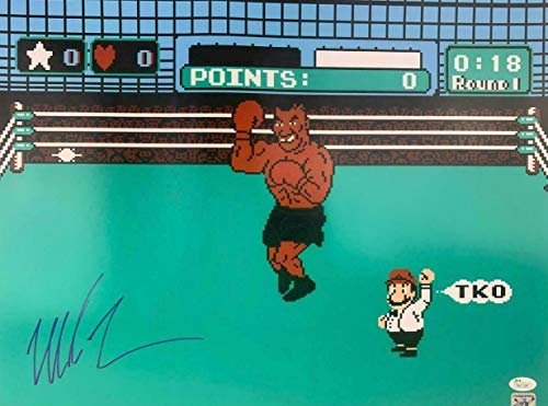 Signed Tyson Picture - Nintendo Punch Out 16x20 coa - JSA Certified - Autographed Boxing Photos