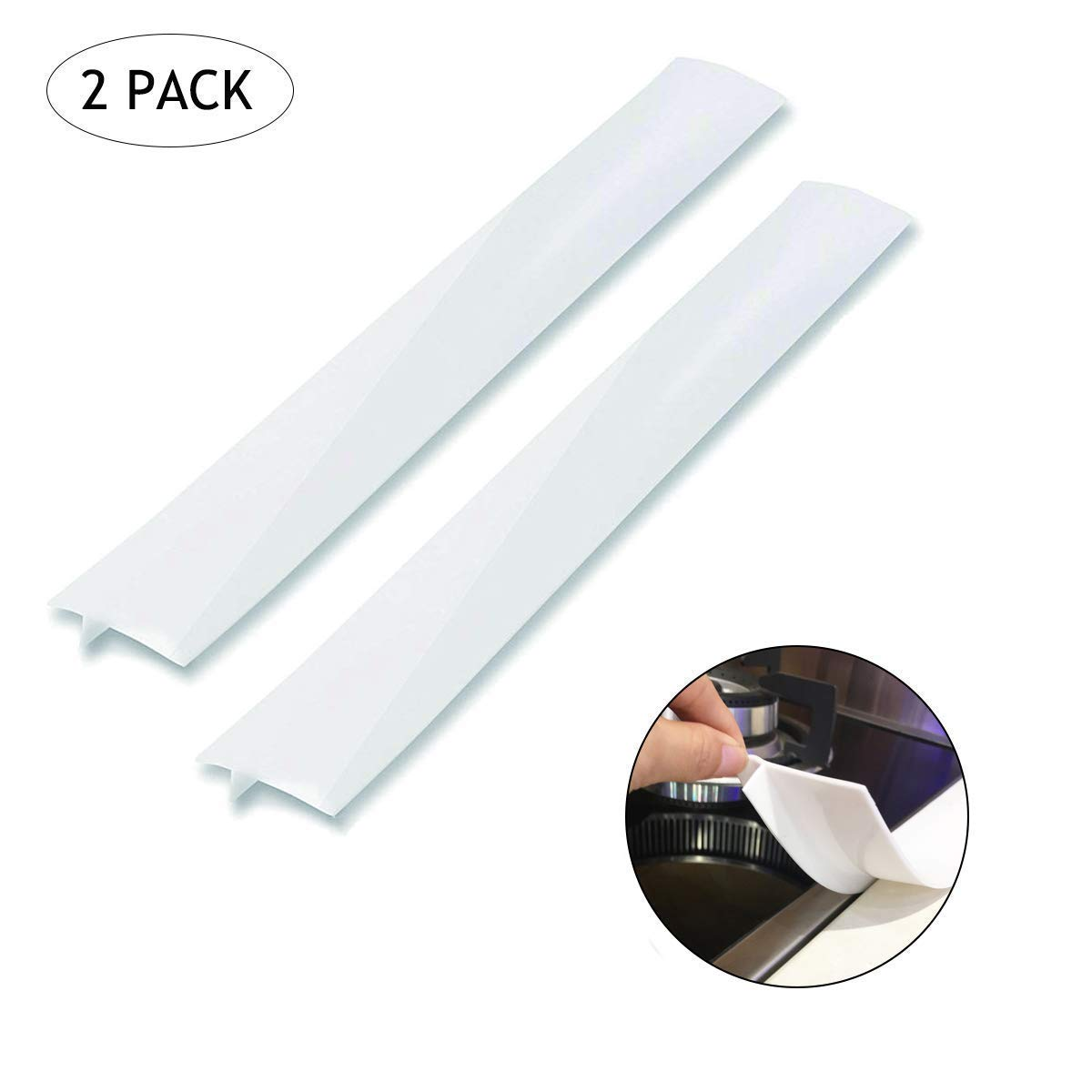 Kitchen Silicone Stove Counter Gap Cover, Easy Clean Heat Resistant Wide & Long Gap Filler, Seals Spills Between Counter, Stovetop, Oven, Washer & Dryer, Set of 2 (21 Inches, White)