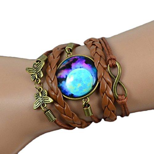 Towallmark(TM) Women Multilayer Weave Bracelet Gem Wristband Jewelry Watch (# 2)