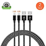iPhone Charger TOODAY Lightning Cable - 2Pack iPhone Charger Cord nylon braided for Apple iphone SE, iPhone 7, 7Plus, 6s, 6s+, 6+, 6,5s 5c 5,iPad Mini, Air, iPad 6, iPod (Black White 10FT)