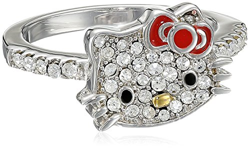 Hello Kitty Czech Crystals Flat Pave Face and Red Girl's Bow Ring, size 7 - Hello Kitty Pave
