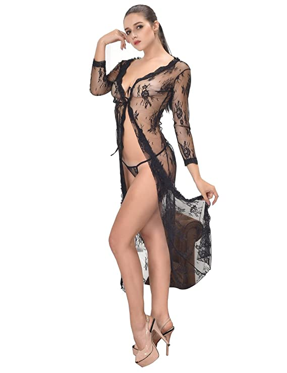 ohyeahlady Women s Sheer Floral Lace Long Nightgowns Plus Size Lingerie  Robes  Amazon.ca  Clothing   Accessories 5b5f3583b