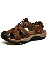rismart Men's Closed Toe Walking Fastening Hiking Sport Shoes Leather Sandals