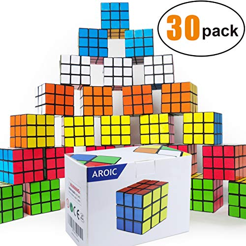 Mini Cube, Puzzle Party Toy(30 Pack), Eco-Friendly Material with Vivid Colors,Party Favor School Supplies Puzzle Game Set for Boy Girl Kid Child, Magic Cube Goody Bag Filler Birthday ()