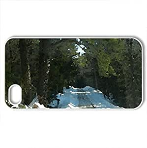 Winter Back Road - Case Cover for iPhone 4 and 4s (Winter Series, Watercolor style, White)