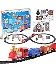 Christmas Train Set Electric Light Music Christmas Train Toy Battery Powered Railway Track Playset Classic Christmas Train Set with Lights and Music Model Train for Children Party Decor