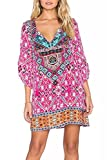 WIWIQS Womens Bohemian Neck Tie Vintage Printed Ethnic Style Summer Shift Dress,XL