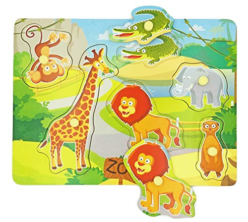 Wooden Peg Baby Puzzles, Full-Color Pictures Animal Shape Chunky Puzzle, Jumbo Knob Zoo Puzzle for Toddlers 1 Year Old and Up