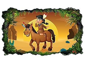 Amazon.de: 3D Wandtattoo Indianer Pferd Kinderzimmer Cartoon Bild ...
