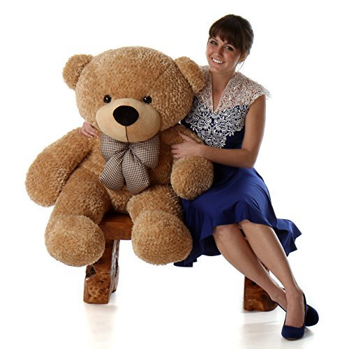 4 Foot Huge Stuffed Bear Amber Brown Color Smiley Face Plush Teddy Bear Toy Shaggy Cuddles 4' Brown Teddy Bear