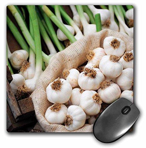 Alfombrilla para mouse con acabado mate en 3D, 8 x 8 pulgadas, Una bolsa llena con ajo fresco, 8 x 8'