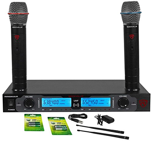 Rockville RWM2602UR UHF Wireless Dual Recharageable HandHeld Microphone System by Rockville
