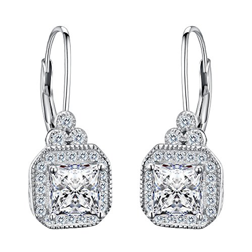 FANZE Women's 925 Sterling Silver Cubic Zirconia Square Cushion Cut Halo Leverback Earrings