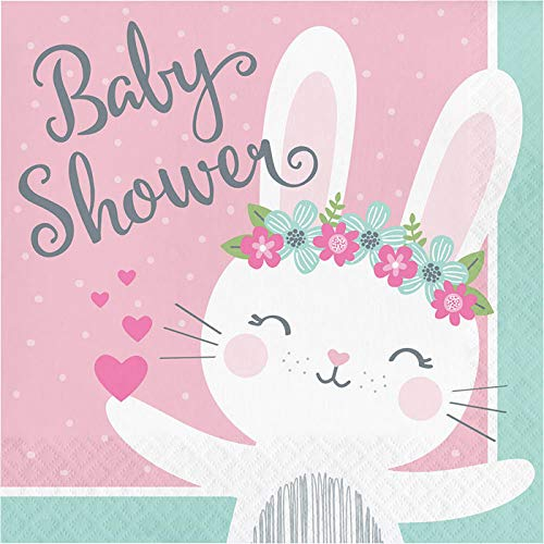16ct 6.5 Bunny Party Baby Shower Napkins Napkin Lunch Multicolor Creative Converting Party Supplies
