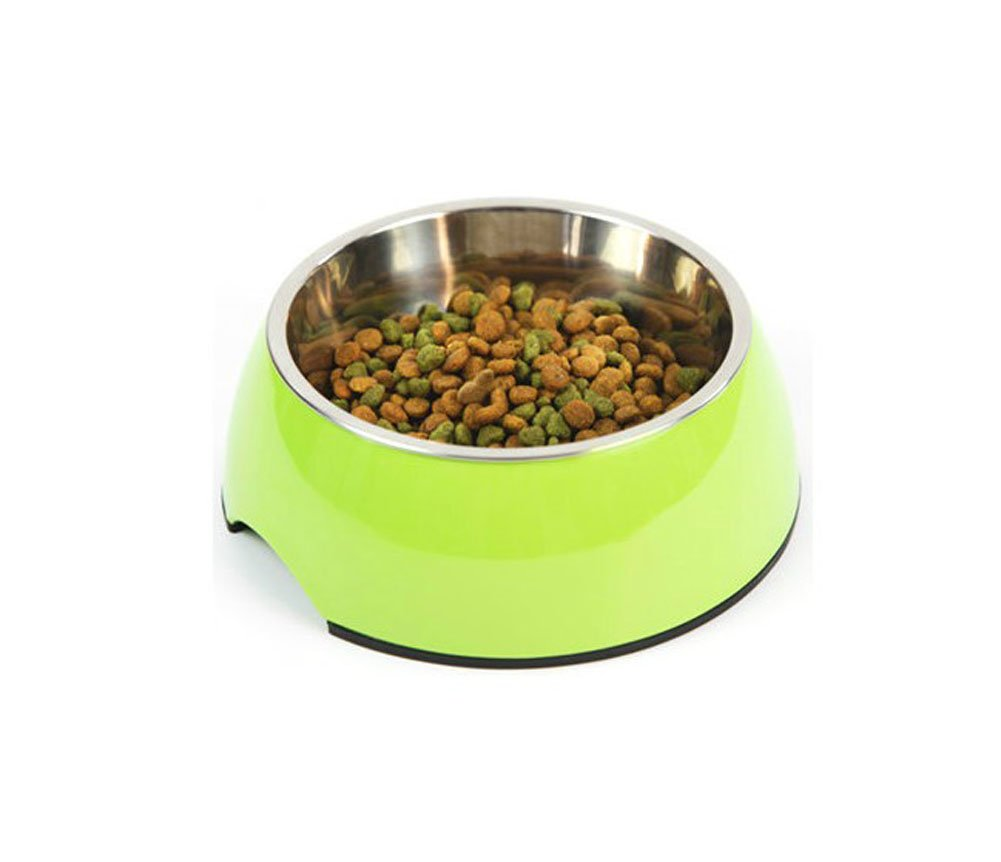Pet Bowl Dog bowl with Stainless Steel Eating Surface Apple Green, Large