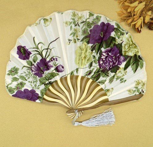 White Purple Summer Style Folding Hand Held Fan Fabric Floral Wedding Dance Favor Pocket Fan 1Pcs