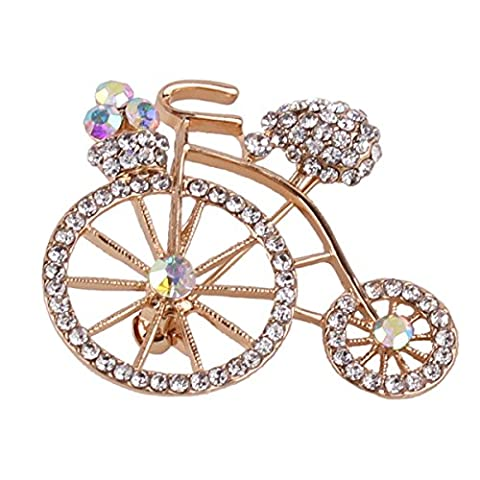 Grace Jun Gold Plated Bride corsage Brooch for Wedding Fine Jewelry Rhinestone Bike Brooch Pin - Bike Brooch Pin