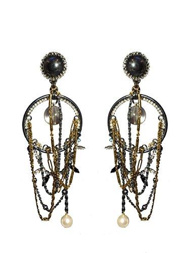 VICKISARGE Boucles d'Oreilles Argent Oxydé Ronde Swarovski Cristal Transparent Femme
