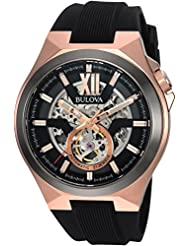 Bulova Mens Automatic Stainless Steel and Silicone Casual Watch, Color:Black (Model: 98A177)