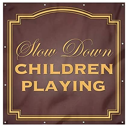 CGSignLab 8x8 Slow Down Children Playing Classic Brown Heavy-Duty Outdoor Vinyl Banner